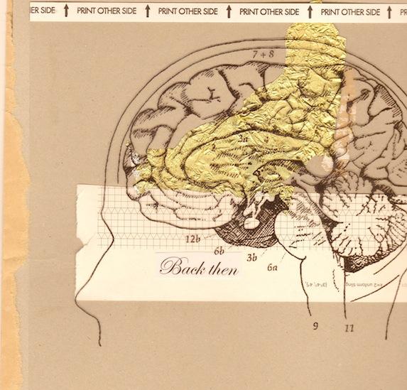 Kollege Zeichnung Gehirn mit Gold unterlegt und Schriftzug: Back then