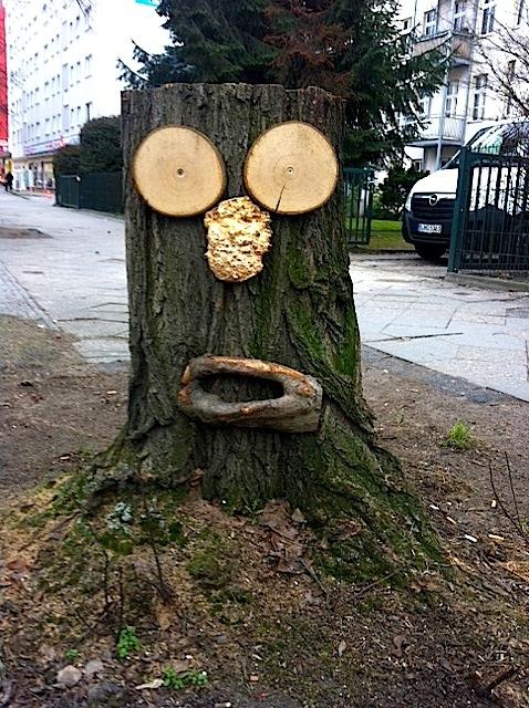 Baumgesicht-Kunstwerk aus Baumstumpf in Berlin Steglitz