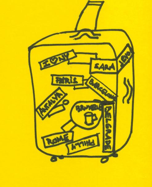 Zeichnung Koffer mit Städteaufklebern, Stefan Sagmeister, The Happy Show